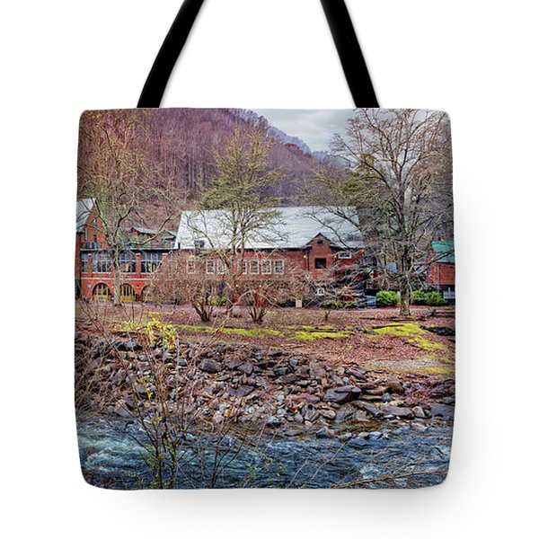 Tote Bag featuring the photograph Tapoco Lodge by Debra and Dave Vanderlaan