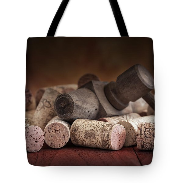Tapped Out - Wine Tap With Corks Tote Bag