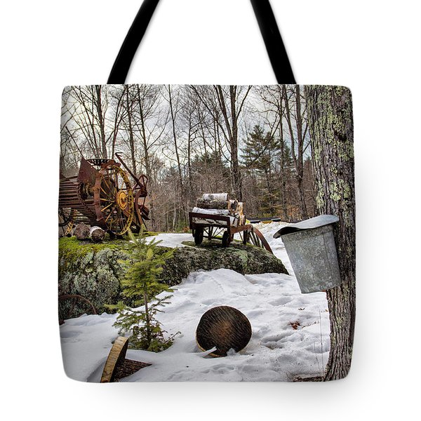 Tote Bag featuring the photograph Tapping A Maple Sugar Tree by Betty Pauwels