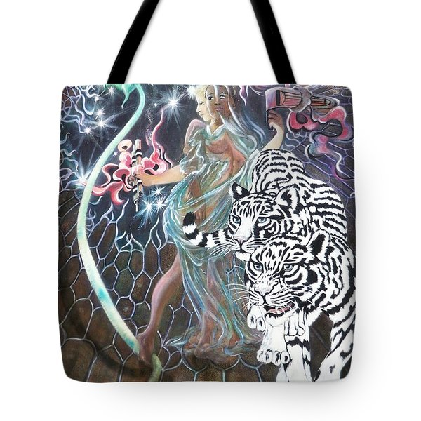 Tote Bag featuring the painting Tapping The Lifeline by Sigrid Tune