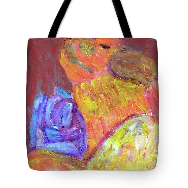 Tote Bag featuring the painting Tarella Napping With Merline by Donald J Ryker III