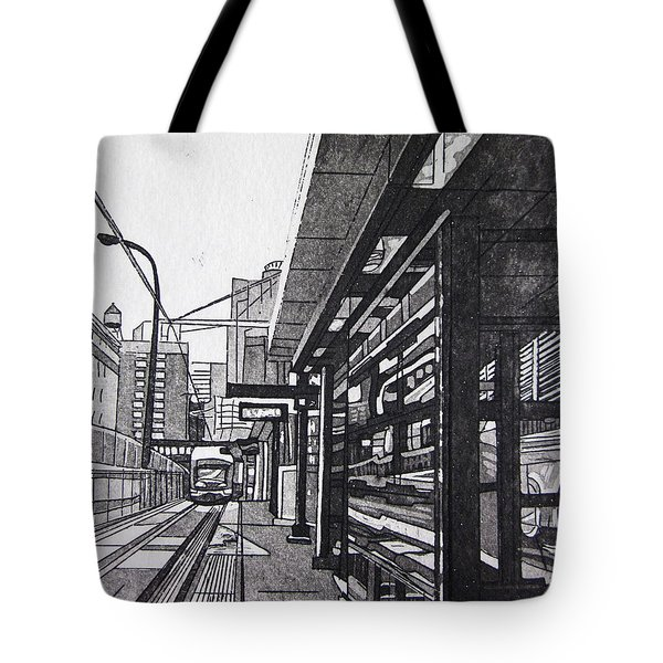 Tote Bag featuring the mixed media Target Station by Jude Labuszewski