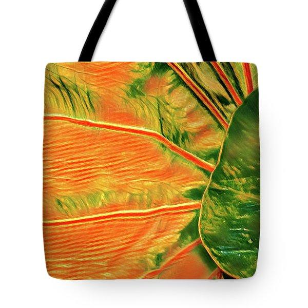 Taro Leaf In Orange - The Other Side Tote Bag