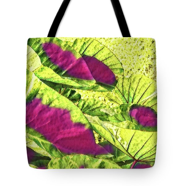 Taro Leaves In Green And Red Tote Bag
