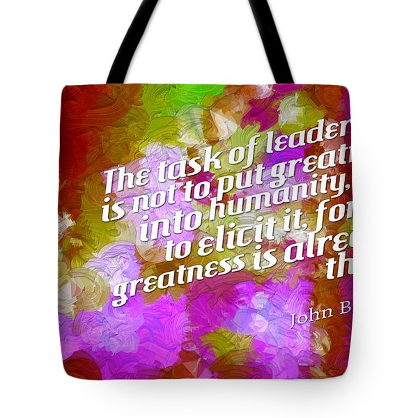Tote Bag featuring the digital art Task Of Leadership by Holley Jacobs
