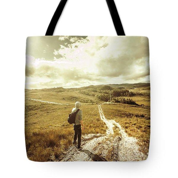 Tasmanian Man On Road In Nature Reserve Tote Bag
