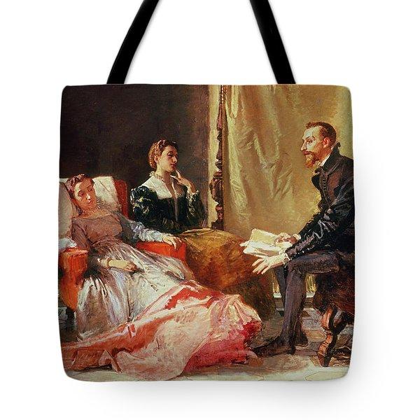 Tasso And Elenora Tote Bag by Domenico Morelli