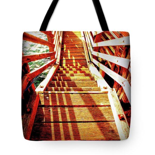 Tathra Wharf Stairs Tote Bag by Lexa Harpell