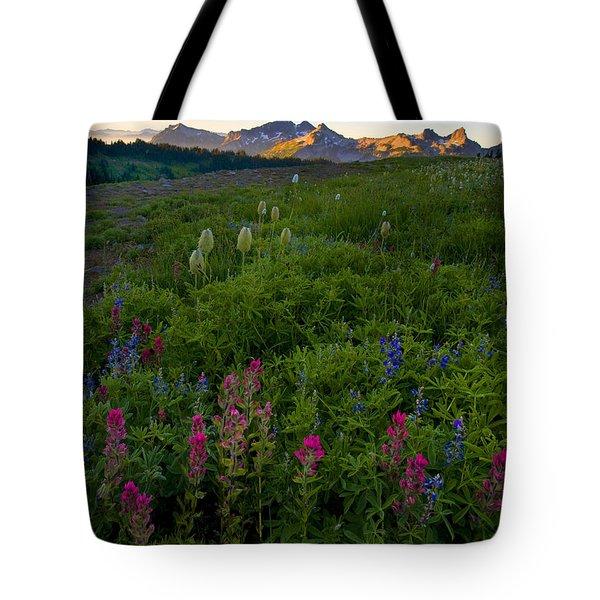 Tatoosh Dawn Tote Bag by Mike  Dawson
