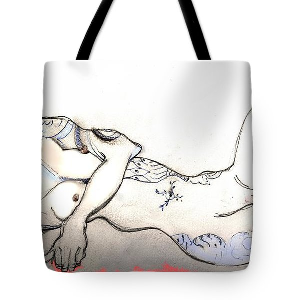 Tote Bag featuring the painting Tattoed Lady - Female Nude by Carolyn Weltman