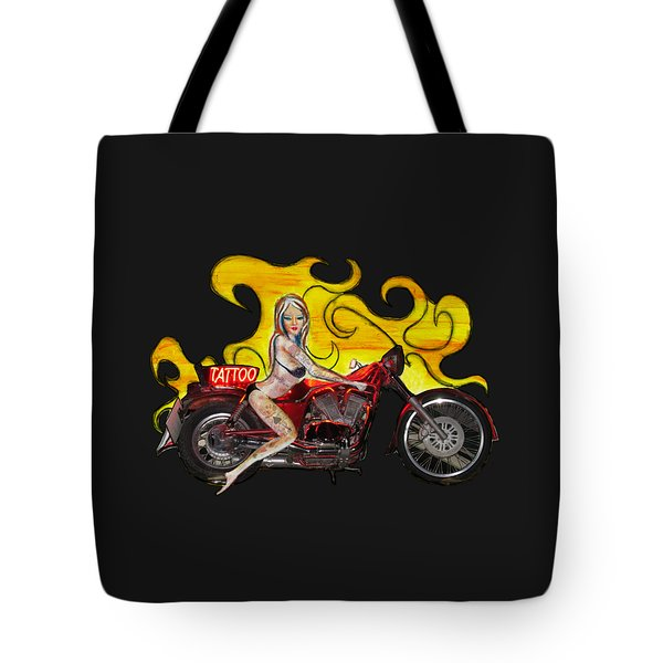 Tattoo Pinup Girl On Her Motorcycle Tote Bag