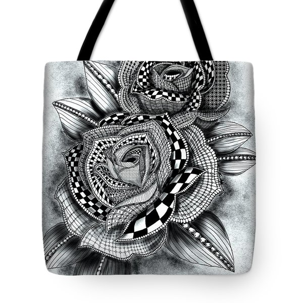 Tote Bag featuring the drawing Tattoo Rose Greyscale by Becky Herrera