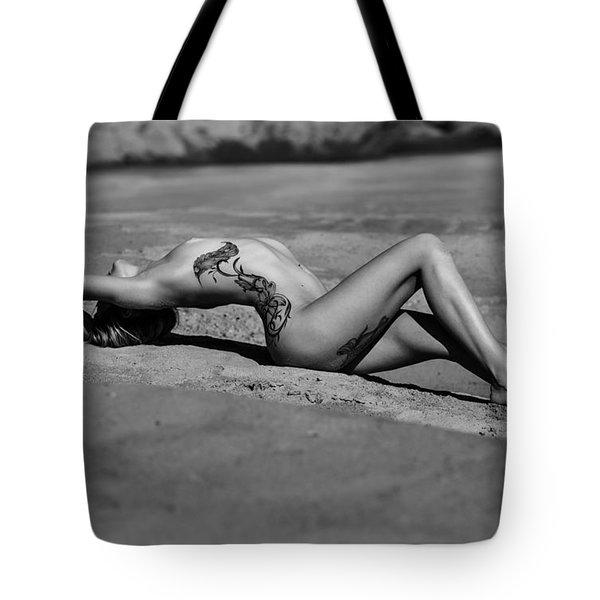 Tattoo Woman On The Beach Tote Bag