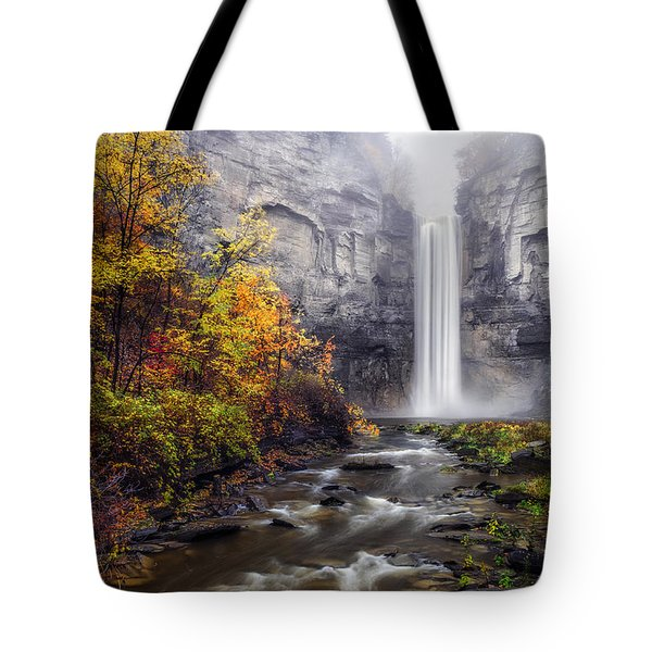 Tote Bag featuring the photograph Taughannock Fog by Mark Papke