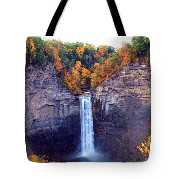 Taughannock Waterfalls In Autumn Tote Bag by Paul Ge