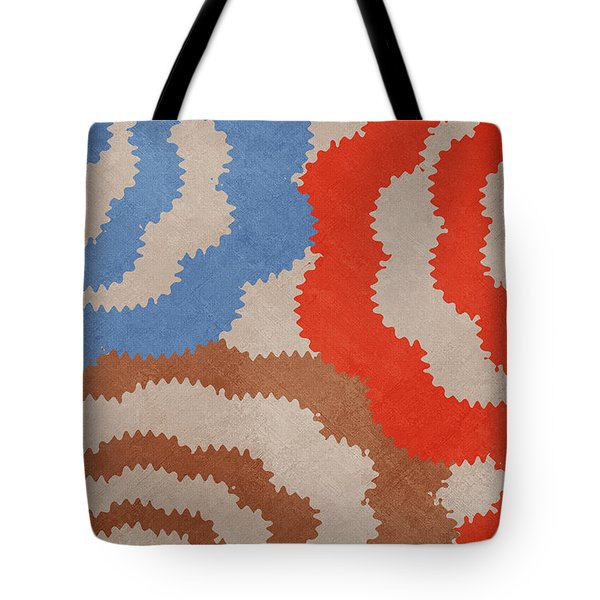 Tote Bag featuring the mixed media Taupe Ring Pattern by Christina Rollo