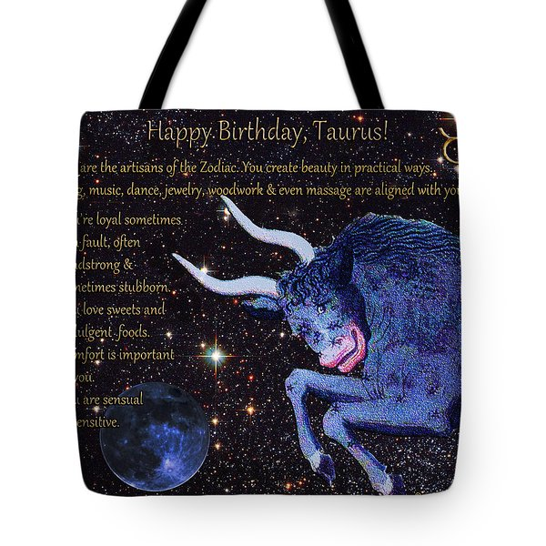 Taurus Birthday Zodiac Astrology Tote Bag