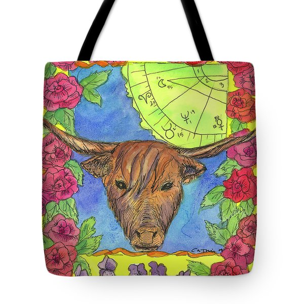 Tote Bag featuring the painting Taurus by Cathie Richardson