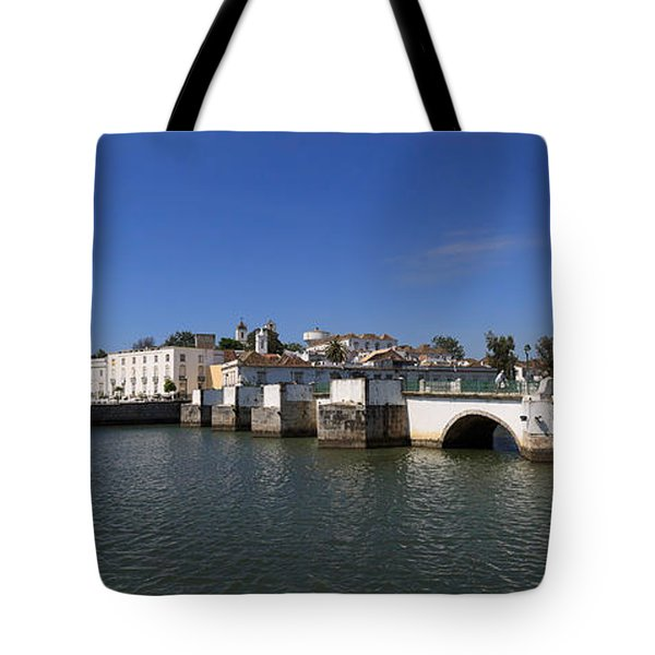 Tavira Ponte Romana And The River Tote Bag by Louise Heusinkveld