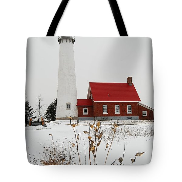 Tawas Point Lighthouse Tote Bag by Michael Peychich