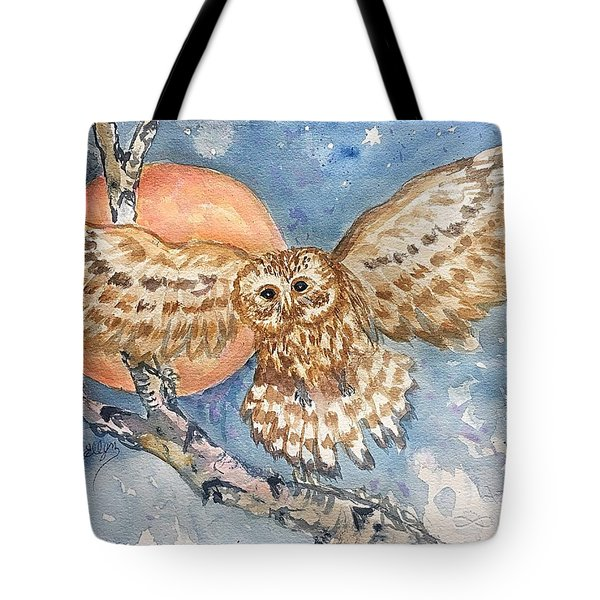 Tawny Owl And Hunters Moon  Tote Bag