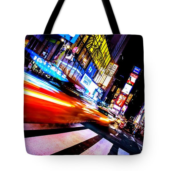 Taxis In Times Square Tote Bag