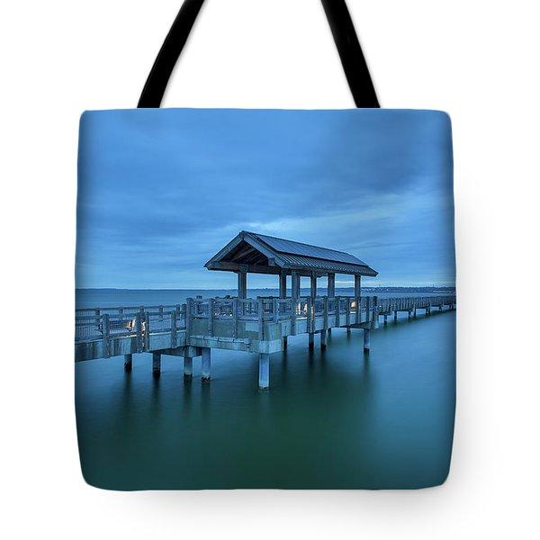 Taylor Dock Boardwalk At Blue Hour Tote Bag