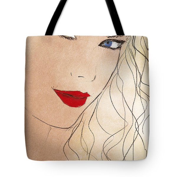 Taylor Red Lips Tote Bag by Pablo Franchi