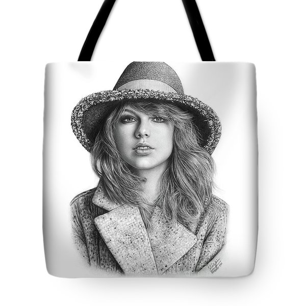 Taylor Swift Portrait Drawing Tote Bag by Shierly Lin