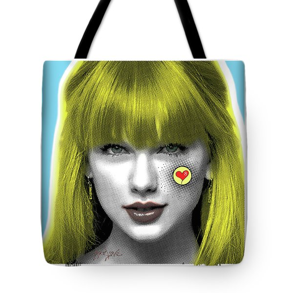 Taylor Swift, Pop Art, Portrait, Contemporary Art On Canvas, Famous Celebrities Tote Bag by Dr Eight Love