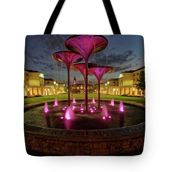 Tote Bag featuring the photograph Tcu Frog Fountain by Jonathan Davison