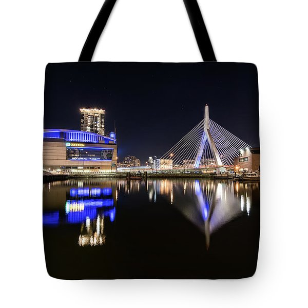 Td Garden And The Zakim Bridge At Night Tote Bag