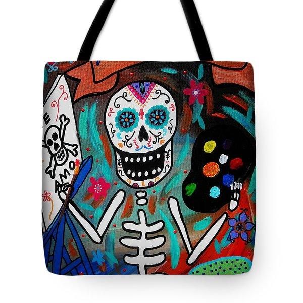 Te Amo Painter Dia De Los Muertos Tote Bag by Pristine Cartera Turkus