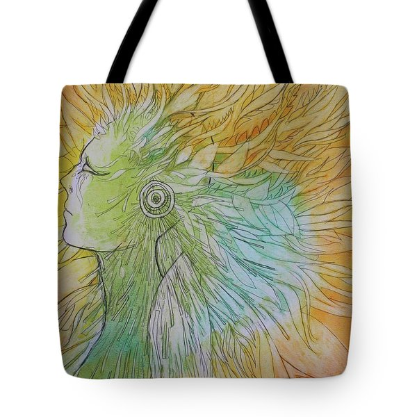 Tote Bag featuring the drawing Te-fiti by Marat Essex