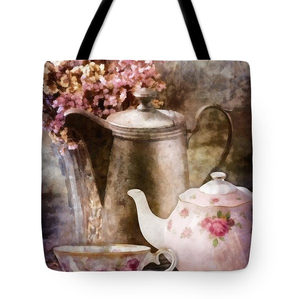 Tote Bag featuring the painting Tea And Grapes by Mo T