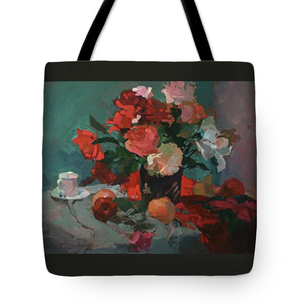 Tea And Peonies Tote Bag