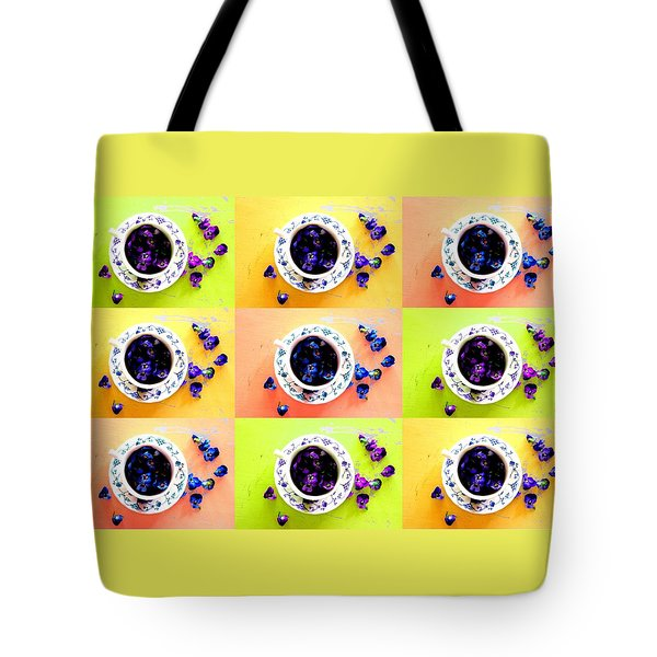 Tea Cups And Violets Tote Bag