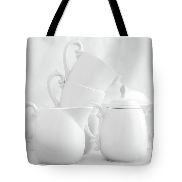 Tea For Three In White Tote Bag