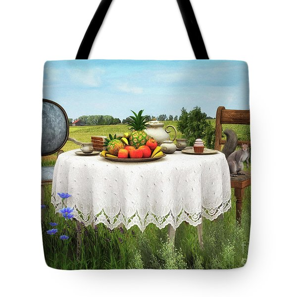 Tote Bag featuring the digital art Tea For Two by Jutta Maria Pusl