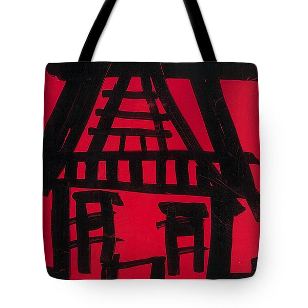 Tote Bag featuring the drawing Tea House by Don Koester