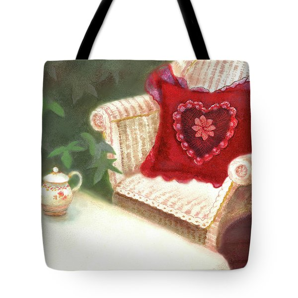 Tote Bag featuring the painting Tea In A Victorian Cottage Garden by Nancy Lee Moran