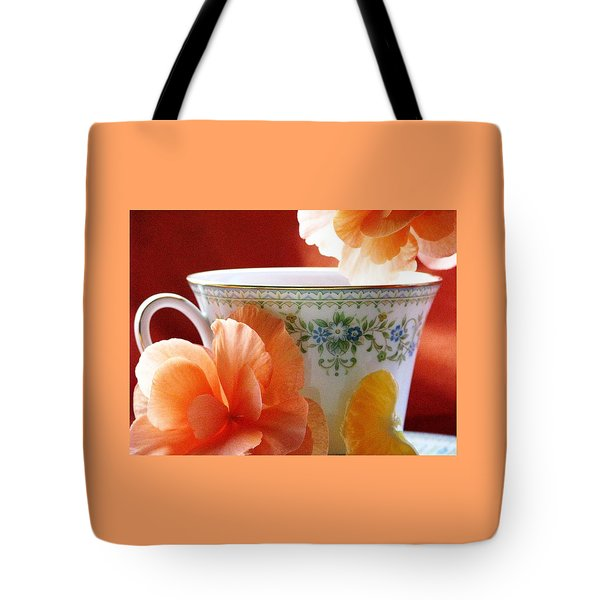 Tea In The Garden Tote Bag by Angela Davies