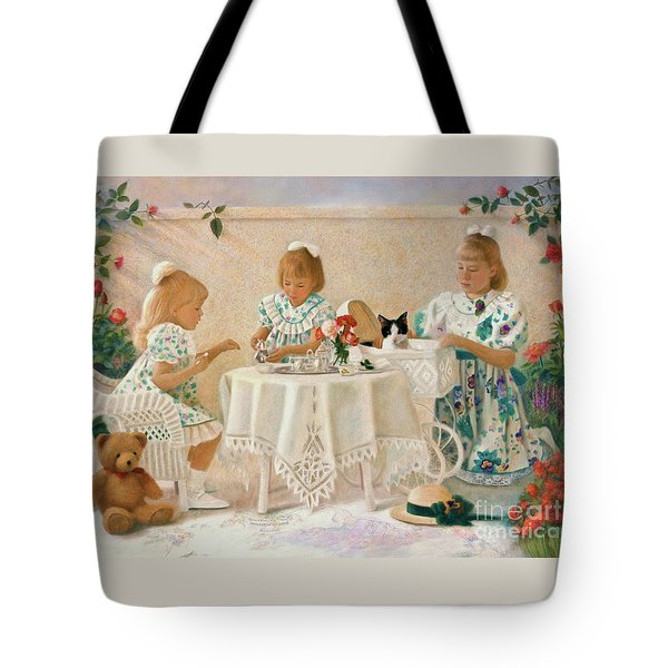 Tote Bag featuring the pastel Tea In The Rose Garden by Nancy Lee Moran