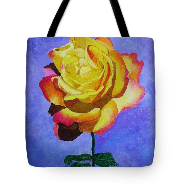 Tote Bag featuring the painting Tea Rose by Rodney Campbell
