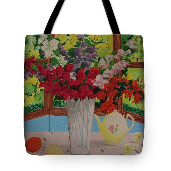 Tote Bag featuring the painting Tea Time by Hilda and Jose Garrancho