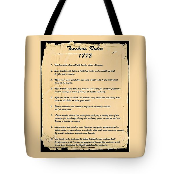 Teachers Rules 1872 Tote Bag