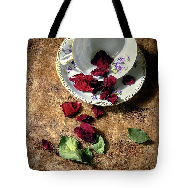 Teacup And Red Rose Petals Tote Bag