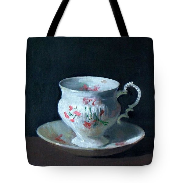 Teacup And Saucer On Dark Background Tote Bag
