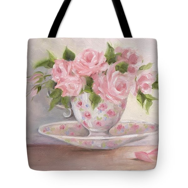 Teacup And Saucer Rose Shabby Chic Painting Tote Bag