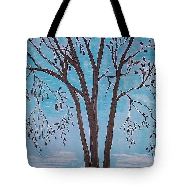Tote Bag featuring the painting Teal And Brown by Leslie Allen
